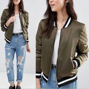 NWT BRAVE SOUL retro bomber with quilted sleeves